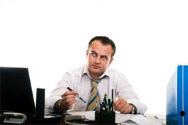 man writing blog