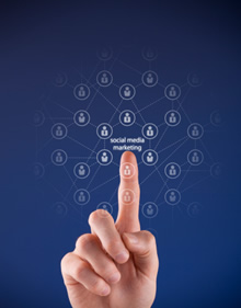 finger pointing to social network